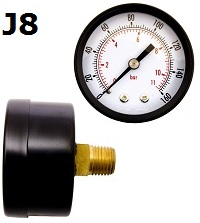 "Model J8 Gauge - 1/4"" NPT Back Connection Black Enameled Steel Case - Non Fillable"