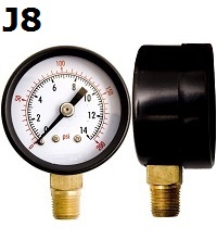 "Model J8 Gauge - 1/4"" NPT Standard Bottom Connection Black Enameled Steel Case - Non Fillable"