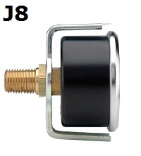 "Model J8 Gauge - 1/4"" NPT U-Clamp Black Enameled Steel Case - Non Fillable"