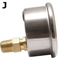 "Model J Gauge - 1/4"" NPT Lower Back Connection"