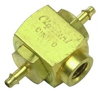 "Shuttle Valve, #10-32 Female Out, 1/16"" ID Hose Inlets"