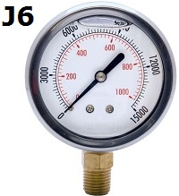 "Model J6 Gauge - 1/4"" NPT Standard Bottom Connection Filled"