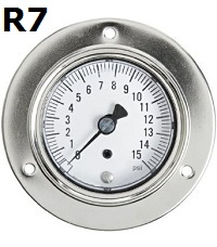 "Model R7 Gauge -1/8"" NPT with Panel Mount Connection Non Fillable"