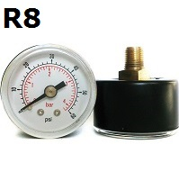 "Model R8 Gauge - 1/8"" NPT Center Back Connection Black Enameled Steel Case - Non Fillable"
