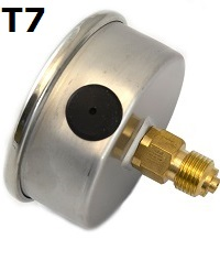 "Model T7 Gauge - 1/4"" NPT with Center Back Connection Non Filled"