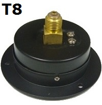 "Model T8 Gauge - 1/4"" NPT with Panel Mount Connection Non Filled"