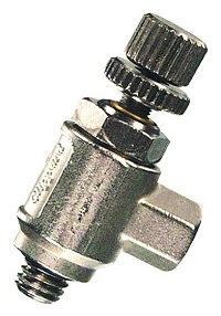 3° Needle Valve, #10-32 Knurled Knob with Locking Nut